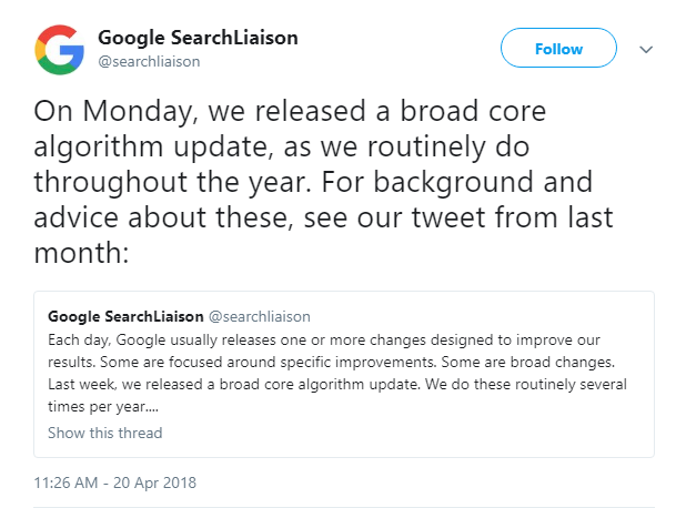 Google Algorithm Update April 2018
